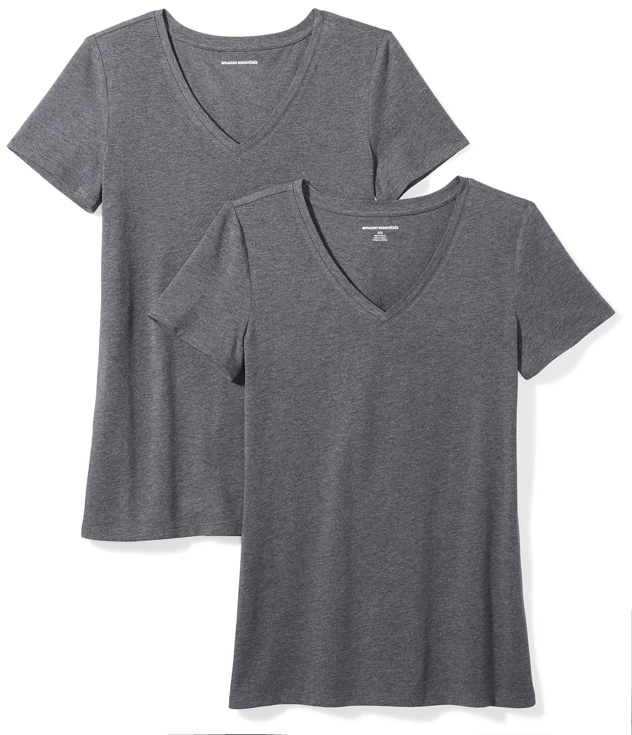 Amazon Essentials Women's 2-Pack Short-Sleeve V-Neck Solid T-Shirt, Charcoal Heather, Large
