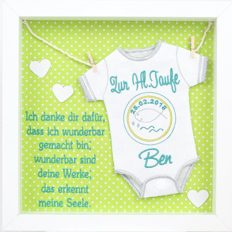 Baby Windel bestickt im Rahmen mit Spruch Geschenk Taufe Geburt