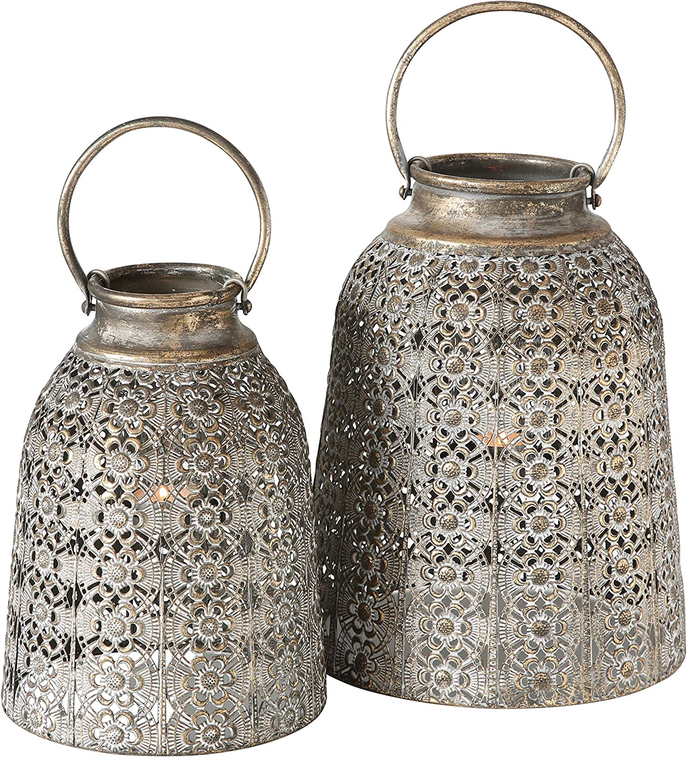 Grand Tour Temple Bell Lanterns, Set of 2, Hurricanes, Distressed Gold, Weathered, White Gray Patina, Iron, 10 1/4 and 8 1/4 Diameter Inches, Inner Floating Candle Holder and Glass, Loop Handles