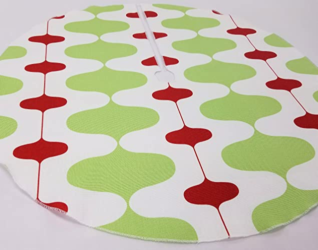 retro christmas tree skirt 25 green red and white made in the usa - Vintage Christmas Tree Skirt