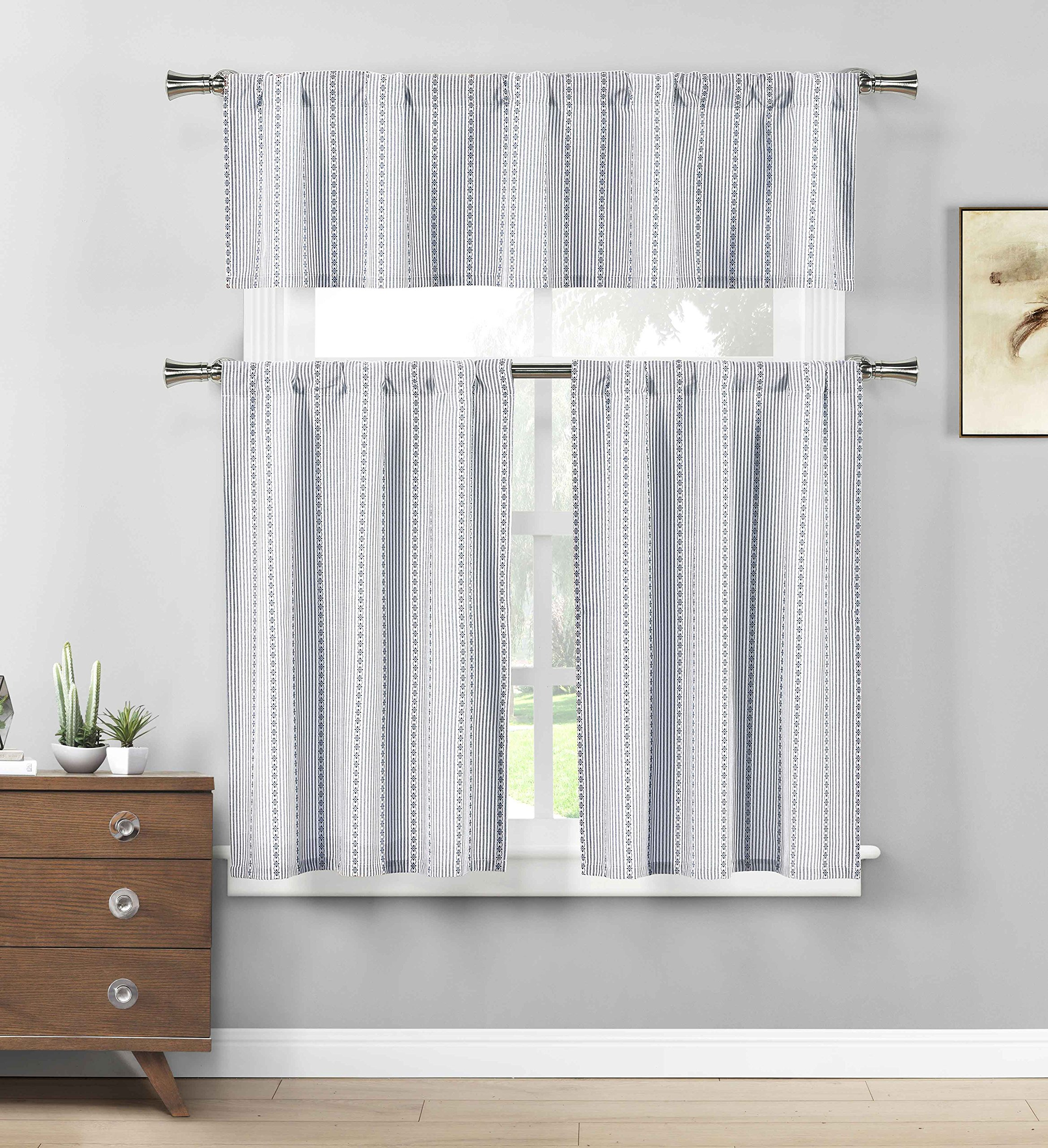 Three Piece Cotton Rich Kitchen/Cafe Tier Window Curtain Set: Striped Pattern (Blue)