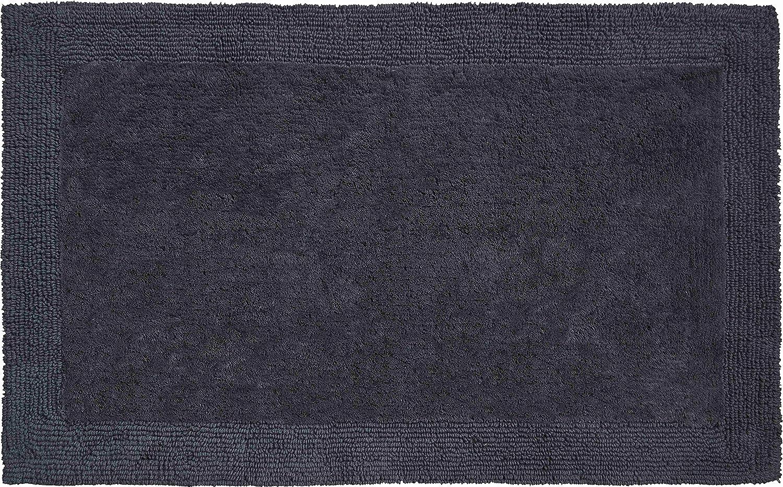 Grund organisch & beidseitig verwendbar Badteppich 100% Bio-Baumwolle, ultra soft, ÖKO-TEX-zertifiziert, 5 Jahre Garantie, LUXOR, Badematte 70x120 cm, anthrazit