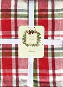 Ridgefield Home Fabric Cotton Holiday Scottish Plaid Tartan Pattern Tablecloth Red Green White Stripes with Silver Tinsel Thread Highlights 60 Inches by 118 Inches