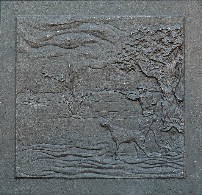 80x60 cm /épaisseur 1,2 cm Lunaway Plaque de Chemin/ée en Fonte Cerfs Dimensions