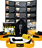 clanno  Strap with Loops by For Fitness Stretching, Athletes, Pilates Exercises, Yoga & Physical Therapy Belt with Door Anchor, Carrying Bag Wrist Sweatband and E-BOOK