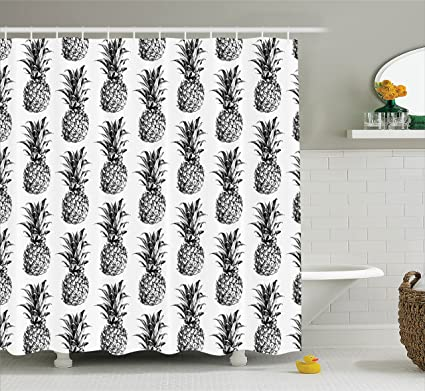 Ambesonne Pineapple Decor Shower Curtain Set Artistic Hand Drawn Style Tropical Theme Vintage