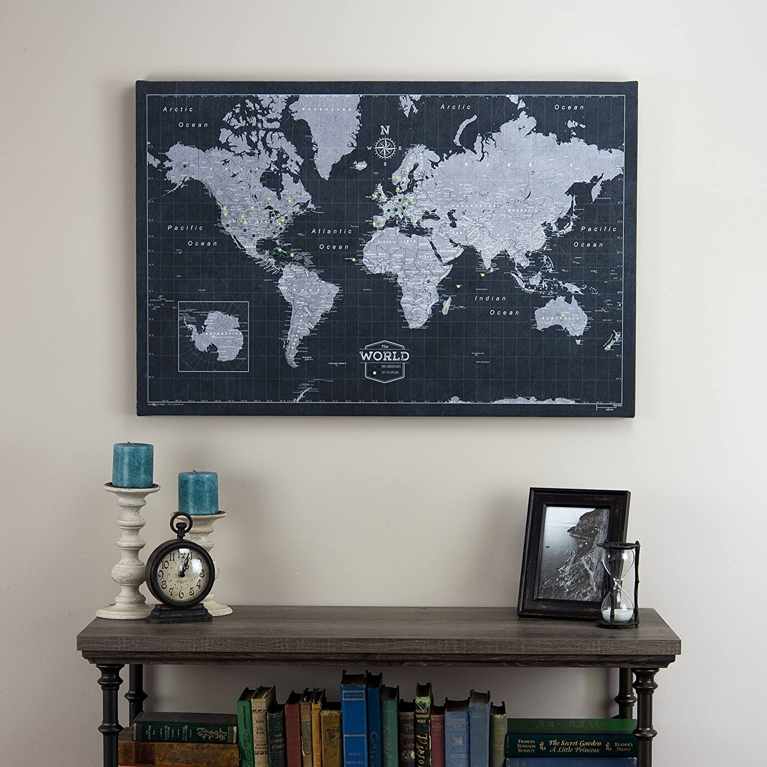 amazoncom world travel map pin board modern slate handmade