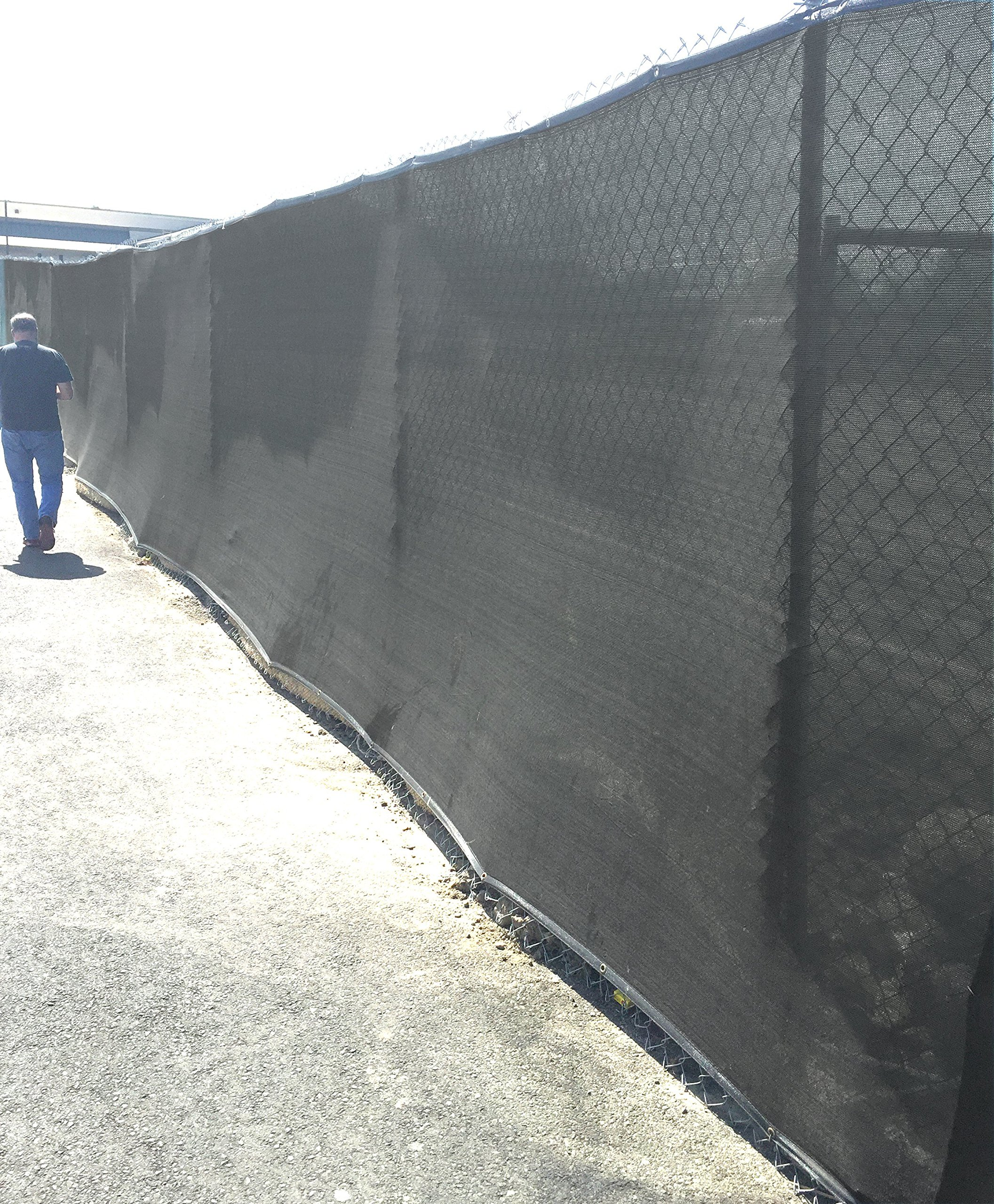HD-Double Stitched Fence Screen Mesh 8' x 50' (EXTRA LONG) Shade For Fence Cover(Black)