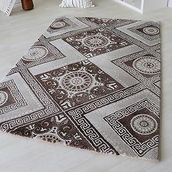 Moderner Kurzflor Teppich Designer Versace Muster Beige Braun Creme