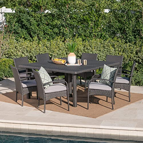 Christopher Knight Home Coral Outdoor 9 Piece Wicker Square Dining Set Water Resistant
