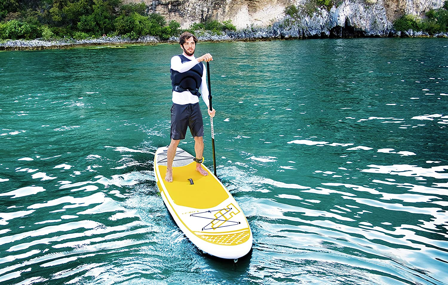 """Amazon.com : Bestway Hydro-Force Cruiser Tech Inflatable Stand Up Paddle  Board, 10'6"""" x 30"""" x 6"""" : Sports & Outdoors"""