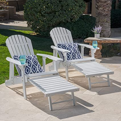 GDF Studio Tampa White Reclining Wood Adirondack Chair With Footrest Set Of  Two (2)