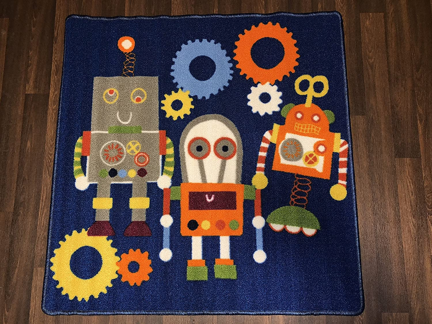 Non Slip Kids Robots In Blue Play Mat /Rug 100cm x 100cm Hours Of Fun OrientalRugCompany
