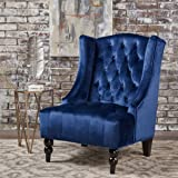 Talisa Winged High-Back Tufted New Velvet Club Chair (Navy Blue)