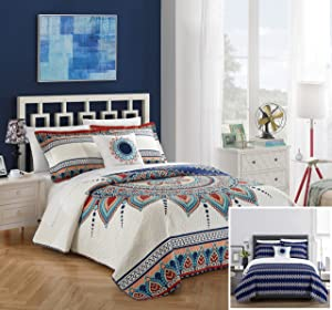 Chic Home Cypress 4 Piece Reversible Quilt Cover Set, King, Blue,