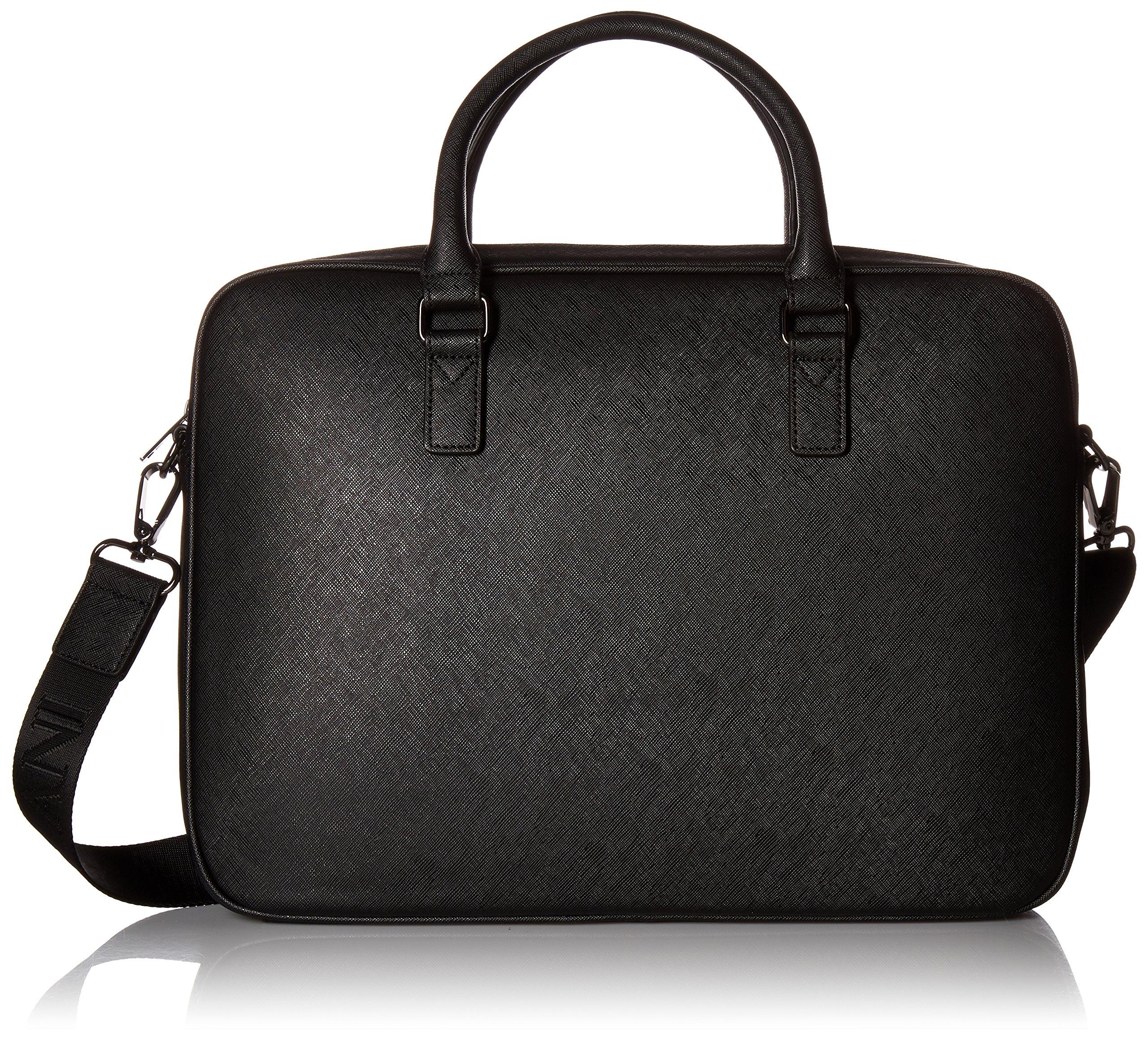 Armani Exchange Men's Saffiano Embossed Briefcase, Black