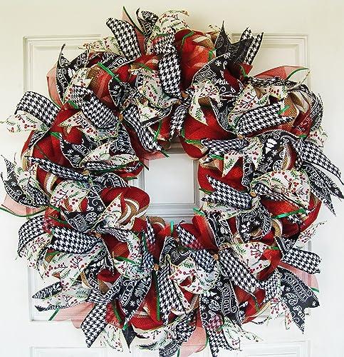 Modern Farmhouse Real Burlap And Ribbon Christmas Winter Door Wreath  Handmade Hand Crafted