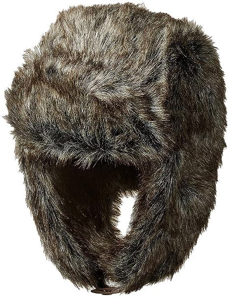 5d91ac390b6554 Dockers Men's All Over Faux Fur Trapper Hat, Charcoal/Brown, L/XL ...
