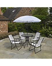 Kingfisher 6 Piece Cream Garden Furniture, Patio Set inc. 4 x Chairs, Table & Parasol