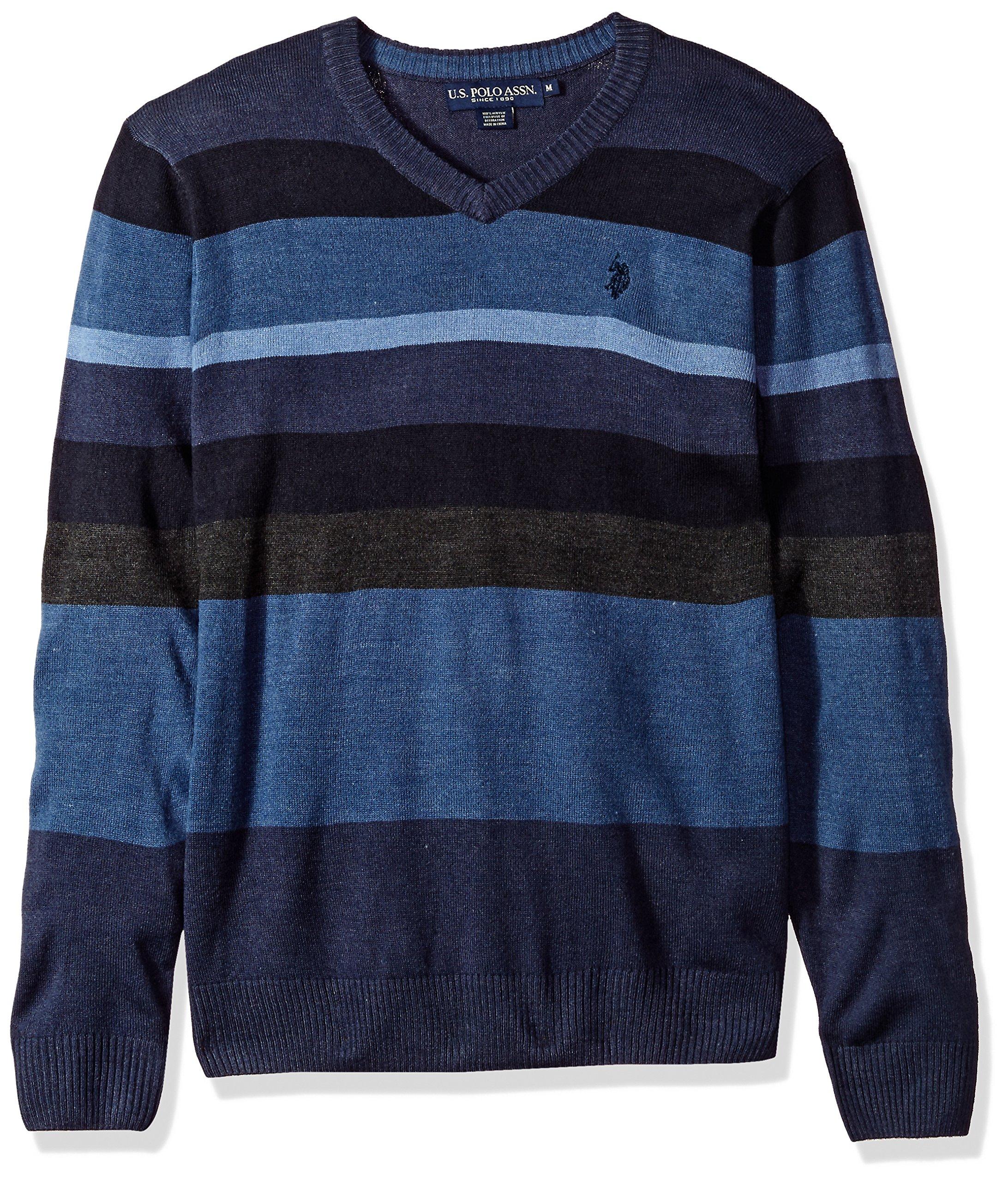 U.S. Polo Assn. Men's Multi Stripe V-Neck Sweater, Midnight Heather, Large