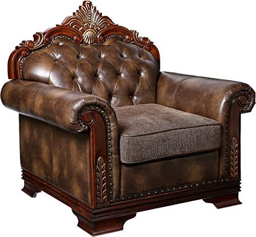 Homelegance Croydon Traditional Two-Tone Arm Chair, Brown PU Leather