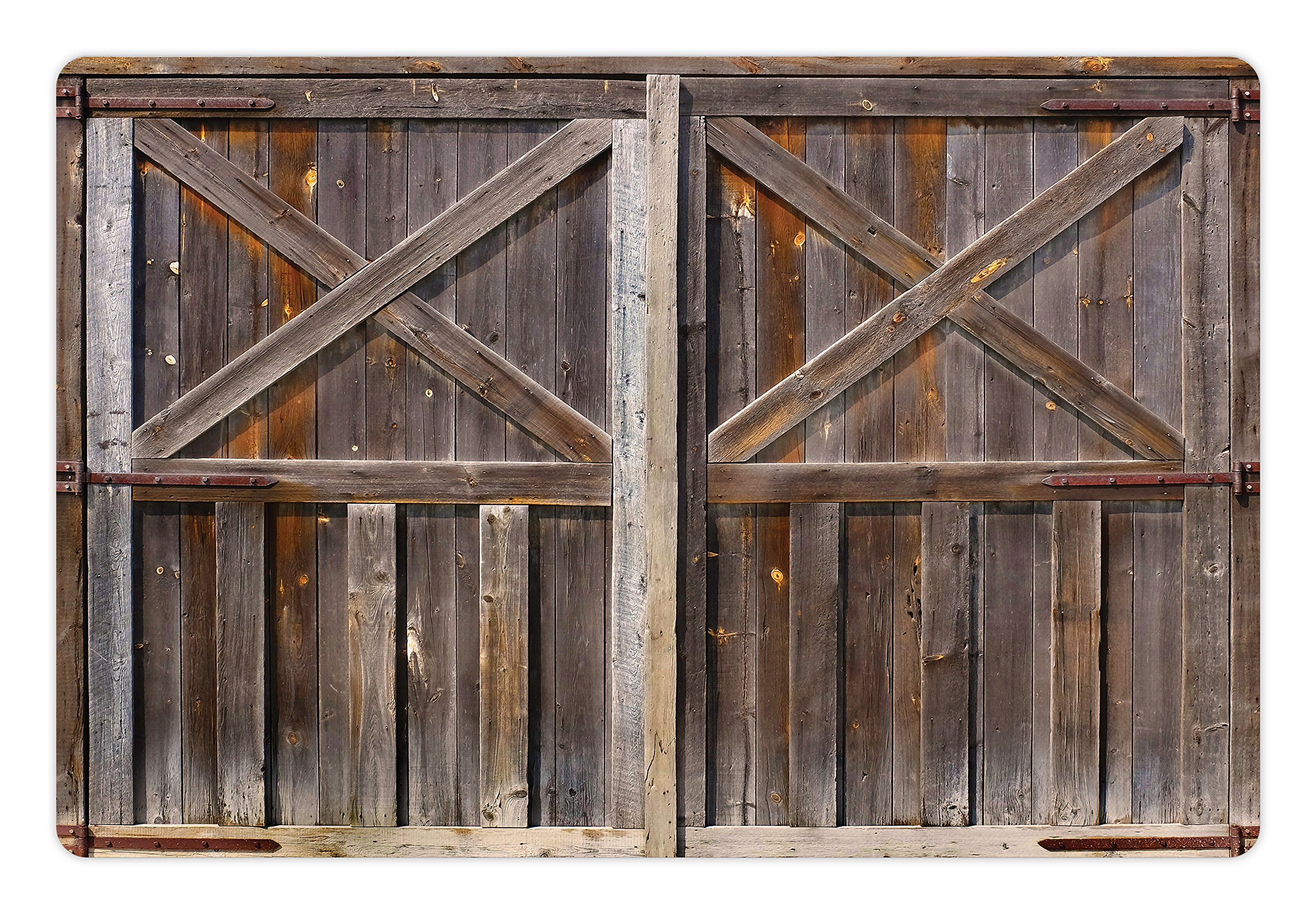 Ambesonne Rustic Pet Mat for Food and Water, Old Wooden Barn Door of Farmhouse Oak Countryside Village Board Rural Life Photo Print, Rectangle Non-Slip Rubber Mat for Dogs and Cats, Brown