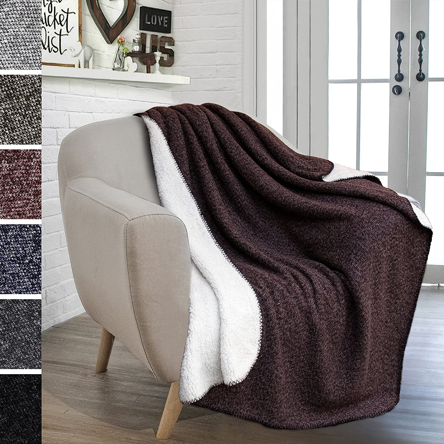 PAVILIA Sherpa Throw Blanket for Couch, Sofa, Chair