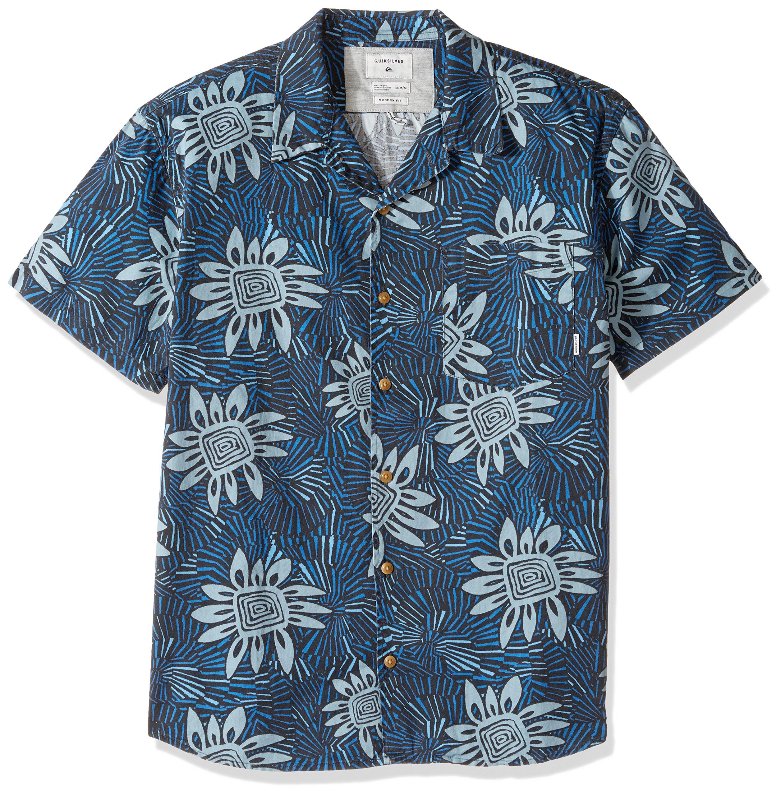Quiksilver Men's Indian Summer Button Down Shirt, Stone Blue Indian Summer, Large