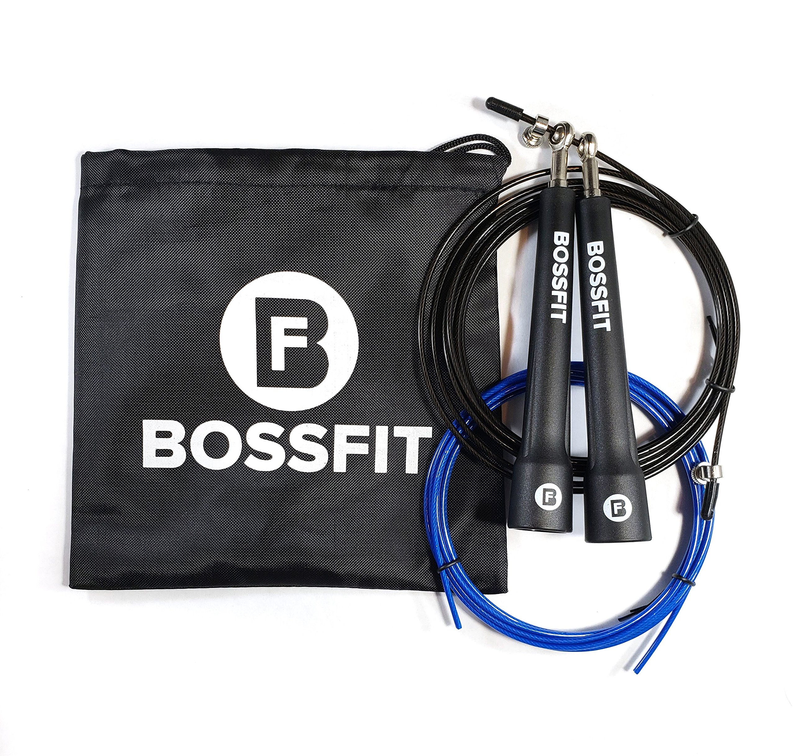 Bossfit Lightweight Speed Jump Rope For Men & Women | Heavy Duty & Fast Skipping Rope For CrossFit & Martial Arts Athletes | Adjustable 2.5mm Coated Cable & Metal Ball Bearings | BONUS Storage Bag