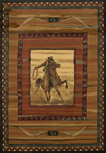 United Weavers of America Genesis Collection Rawhide Heavyweight Heat Set Olefin Rug, 1-Feet 10-Inch by 3-Feet, Lodge