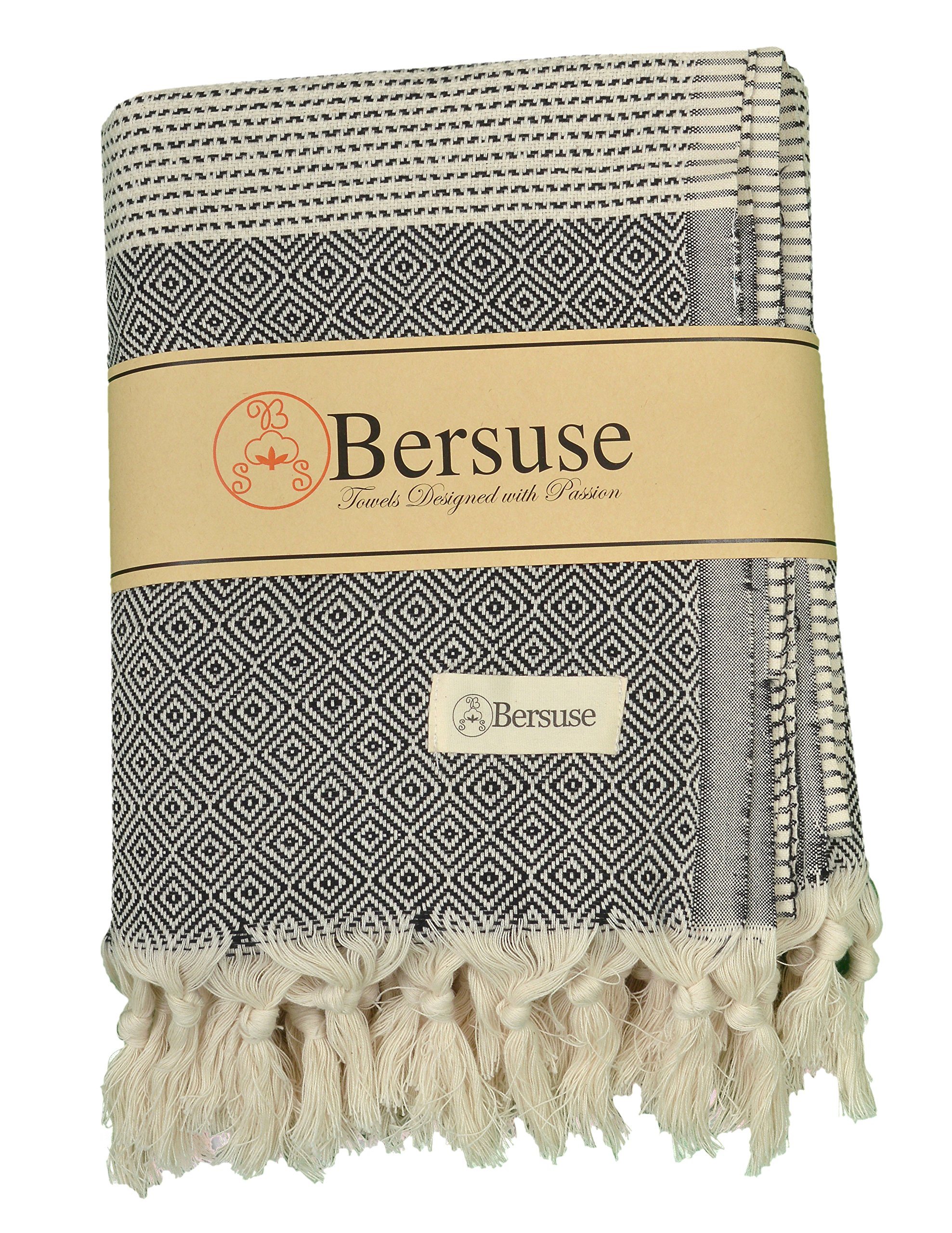 Bersuse 100% Cotton Hierapolis XL Blanket Turkish Towel, 60X95 Inches, Black - LARGE AND STYLISH: Offers soft, relaxing comfortability for indoor/outdoor, home, beach, camping, picnic, or travel. Add gorgeous value and elegance to a couch, chair or bed by choosing a color that matches your bedroom or living room decor. ABSORBENT & GENTLE ON SKIN: Our linen flat woven towels dry you off quickly. They are ultra soft and great for infants, baby care, toddlers and adults with sensitive skin. QUICK DRYING: Dries way more quickly both by air and tumble drier. They are anti-microbial-unlike fluffy cotton towels- so they do not get smelly. - blankets-throws, bedroom-sheets-comforters, bedroom - A1J5SeO fQL -