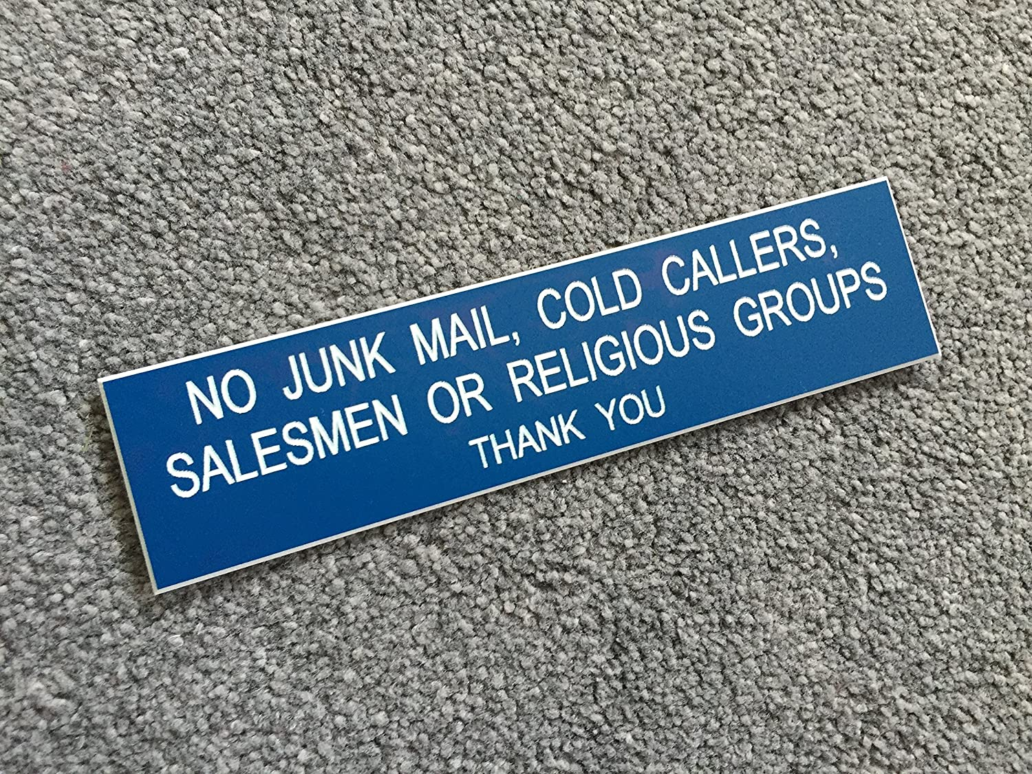 No Junk Mail Engraved Sign Salesmen or Religious Groups Cold Callers