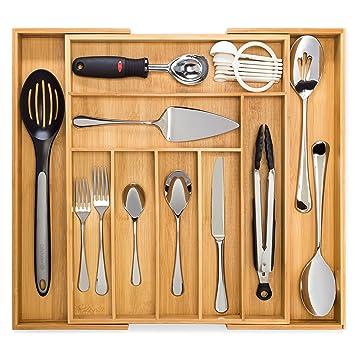 bamboo expandable drawer organizer premium cutlery and utensil tray 100  pure bamboo amazon com   bamboo expandable drawer organizer premium cutlery      rh   amazon com