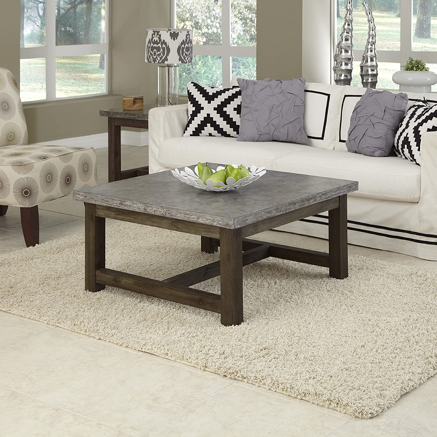 Amazon Home Styles 5133 21 Concrete Chic Square Coffee Table
