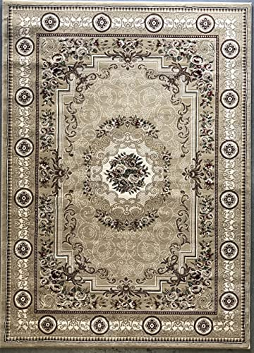 Traditional Persian 500,000 Point Area Rug Beige Burgundy Green Ivory Floral Design 403 5 Feet 2 Inch X 7 Feet 3 Inch