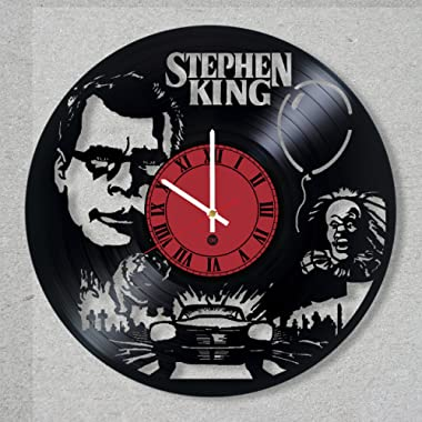 Vinyl Record Wall Clock Stephen King Movie Horror It Animal Sematary Christine Dark Tower decor gift ideas for friends him her boys girls World Art Design