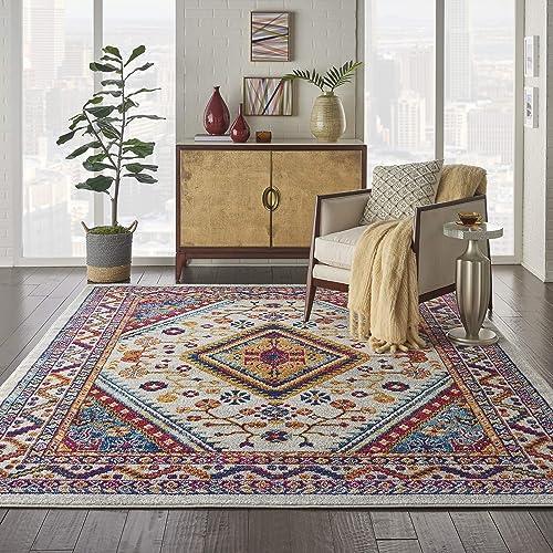 Nourison Persian Vintage 8 x 10 Bohemian Style Area Rug, Ivory Multi 7 10 X9 10