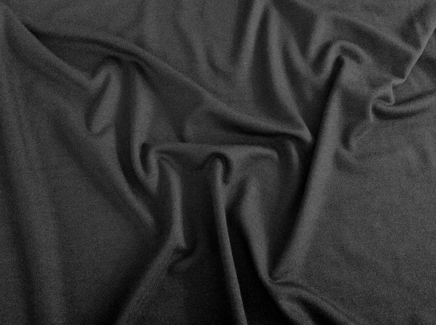 Black Viscose Elastane Spandex (Stretch) Fabric Plain 152cm wide per metre