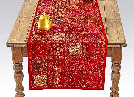 Camino de mesa indio rojo con lentejuelas bordadas de algodón ...