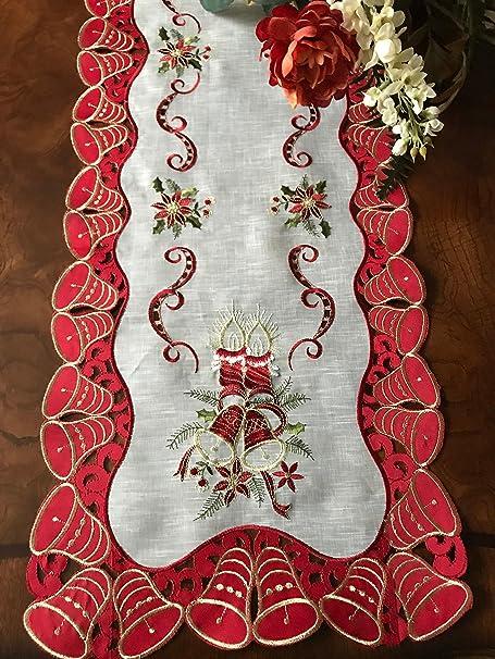 A & Mt elegante vacaciones Navidad Bell camino de mesa bordado: 16 ...