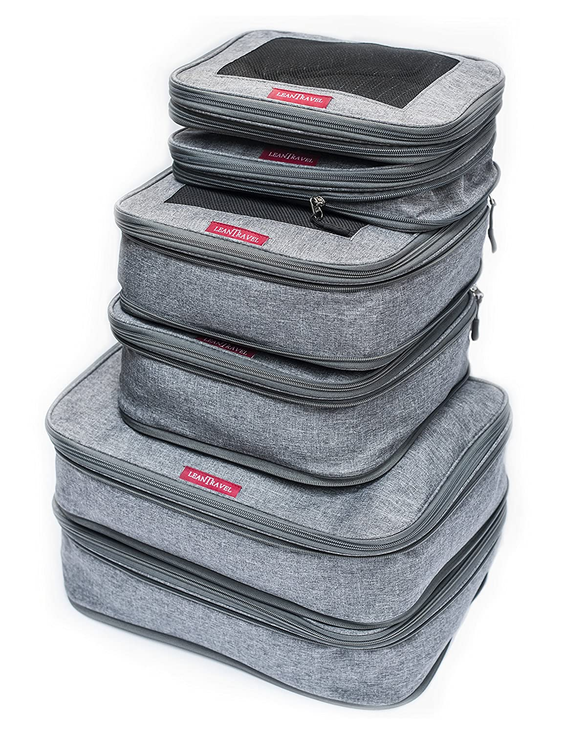 LeanTravel Compression Packing Cubes Luggage Organizers for Travel with Double Zipper - Set of 6 - Color Grey