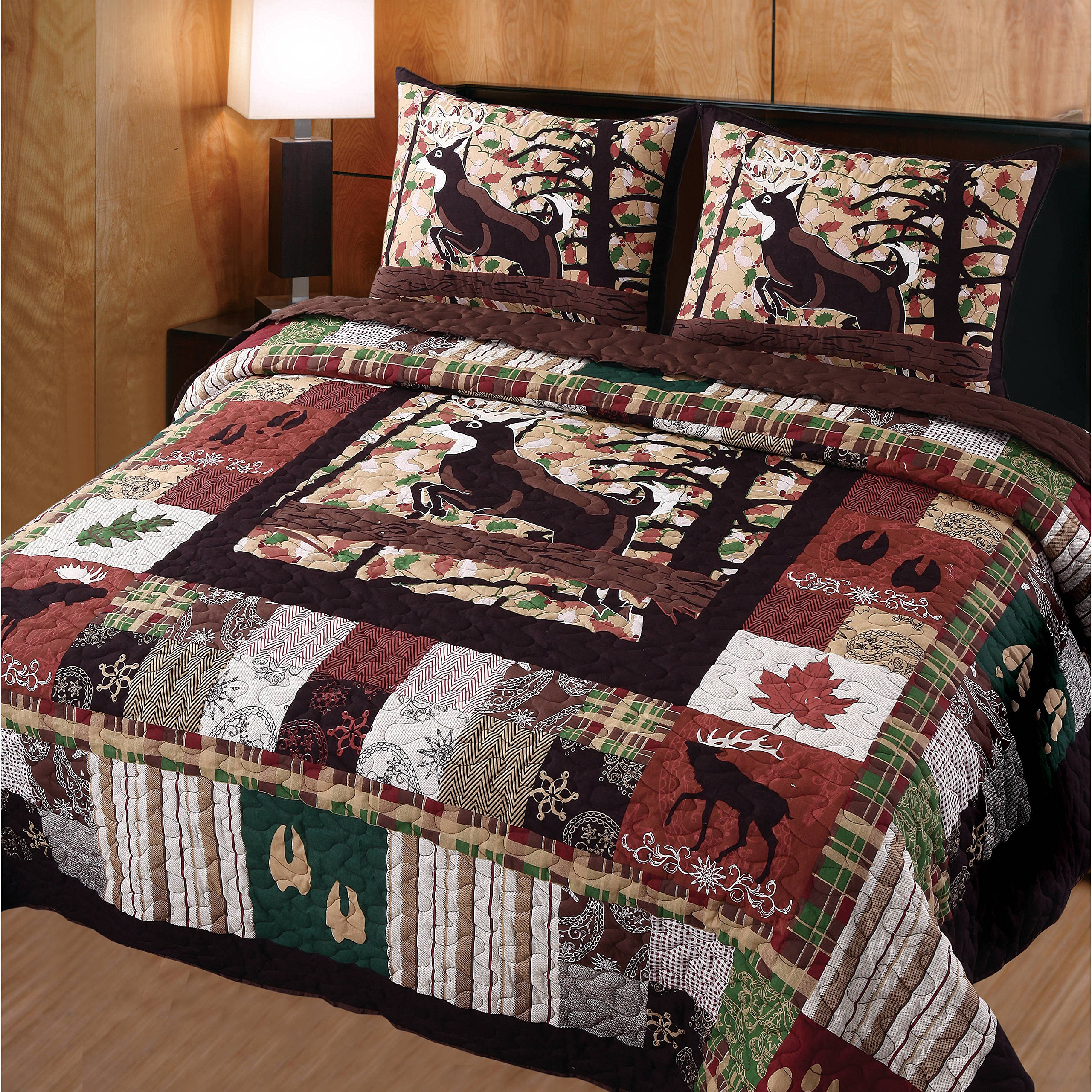 D&A 3 Piece Brown Red Plaid King Quilt Set, Lodge Animal Print Themed Bedding, Cabin Country Sqaures Tartan Lumberjack Pattern Cottage Woods Hunting Deer Moose Horizontal Vertical Stripes, Cotton