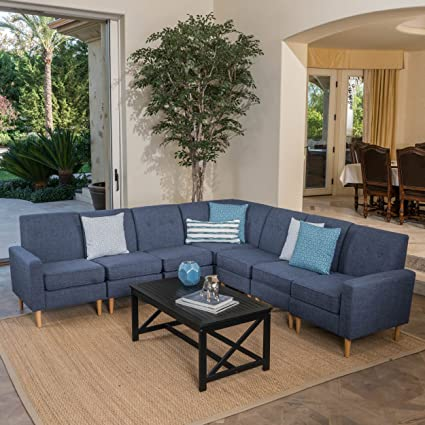 Marvelous Christopher Knight Home 302722 Sawyer Fabric Sectional Sofa Set 7 Piece Dark Blue Natural Unemploymentrelief Wooden Chair Designs For Living Room Unemploymentrelieforg
