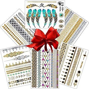 Amazon Com Metallic Henna Tattoo Kit 6 Sheets Of Premium
