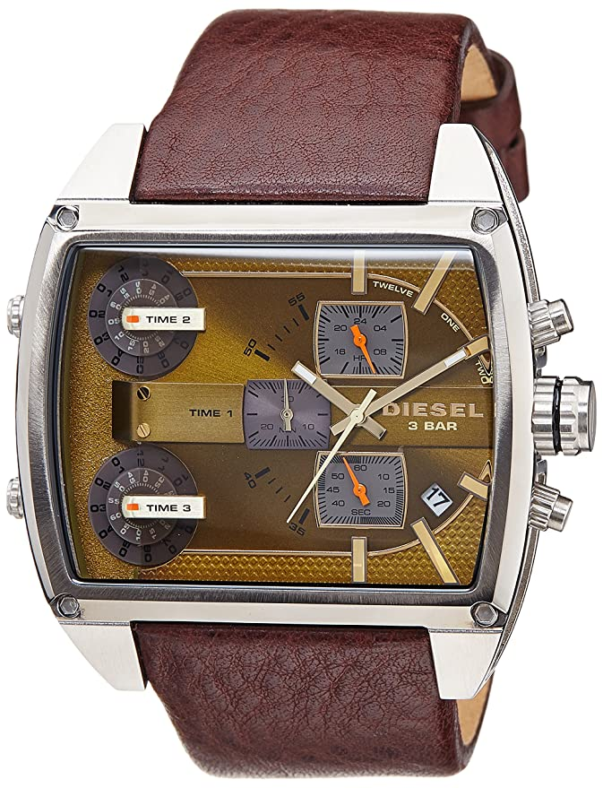 Amazon.com: Diesel Mens DZ7327 Mothership Square Watch with Brown Band: Diesel: Watches