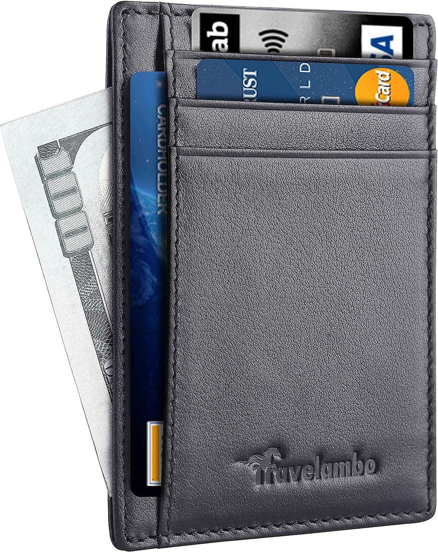 Travelambo Front Pocket Minimalist Leather Slim Wallet RFID Blocking Medium Size 05 napa black