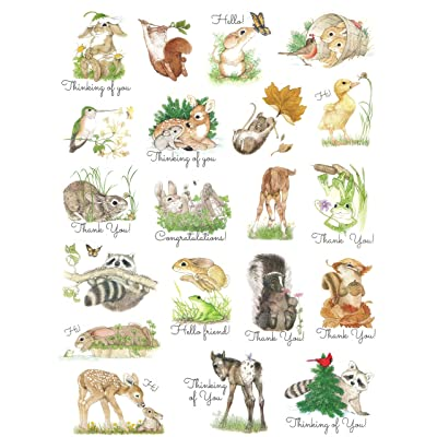 CURRENT Cute Critter Animal Stickers ~ Playful Woodland Animals with Sentiments (20 Stickers; 1-1): Toys & Games