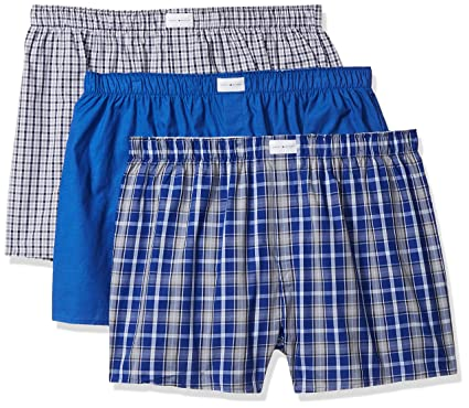 3329958f3652 Tommy Hilfiger Men's Underwear 3 Pack Cotton Classics Woven Boxers, Blue  Plaid/Solid Blue