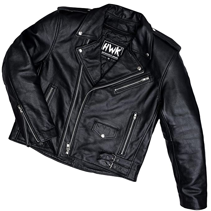 Amazon.com: Leather Motorcycle Jacket For Men Moto Riding ...
