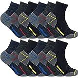 3, 6, 12 paia uomo calzini / calze lavoro cotone corti quarter corte rinforzate spugna tacco e punta